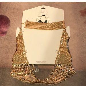 Gold mesh choker and bra